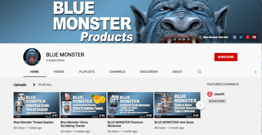 Blue Monster YouTube Channel